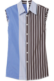 Marni Paneled striped cotton-poplin shirt