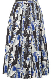 Pleated printed cotton-poplin midi skirt