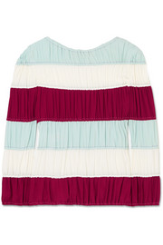 Ruched striped crepe de chine top