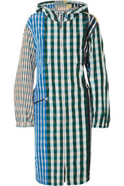 Marni Oversized hooded gingham shell coat
