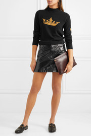 Bella Freud Crown metallic intarsia wool and cashmere-blend sweater
