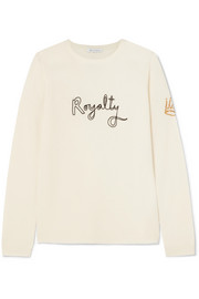 Royalty embroidered intarsia wool and cashmere-blend sweater