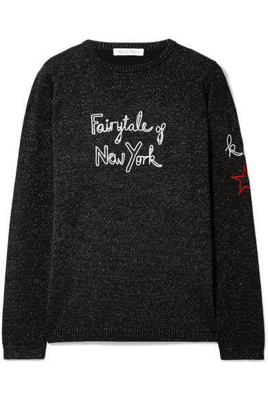 Bella Freud + Kate Moss Fairytale Of New York bestickter Pullover aus einer Wollmischung in Metallic-Optik