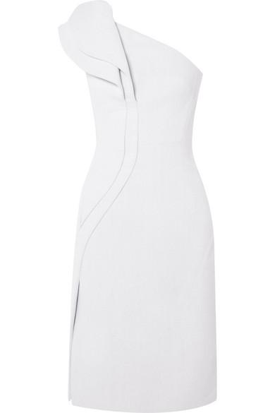 Antonio Berardi Kleid aus Crêpe mit asymmetrischer Schulterpartie und Rüschen