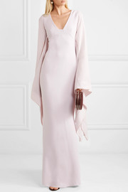 Draped crepe and georgette gown