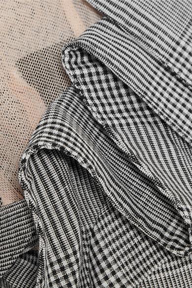 Antonio Berardi Karierter Blazer aus einer Mischung aus Wolle, Leinen und Seide mit Tülleinsätzen