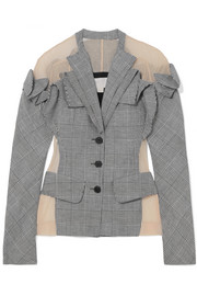 Antonio Berardi Tulle-paneled checked wool, linen and silk-blend blazer