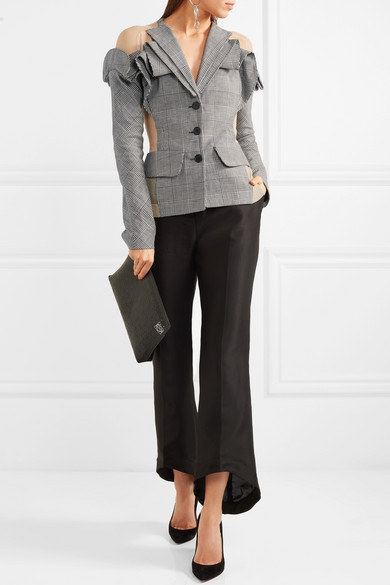 Antonio Berardi Checkered Blazer Wool From A Mixture Of, Linen And Silk Tulle Inserts With