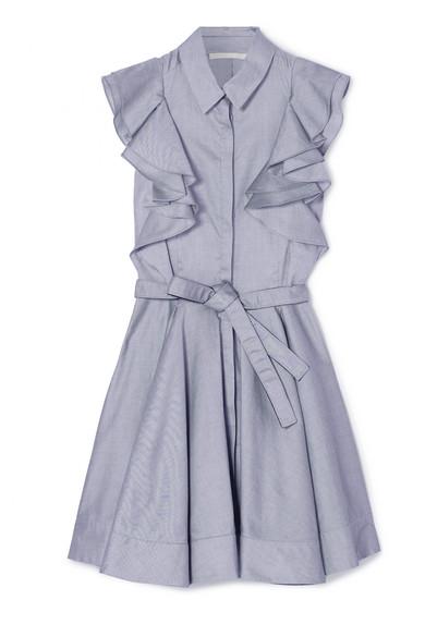 Antonio Berardi Minikleid aus Baumwoll-Chambray mit Rüschen