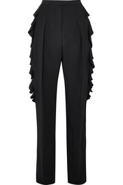 Ruffled crepe tapered pants