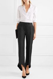 Cropped silk and cotton-blend twill bootcut pants