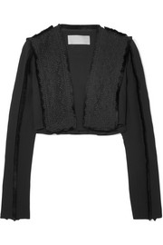 Antonio Berardi Cropped fringed broderie anglaise and crepe jacket