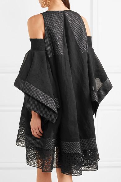 Antonio Berardi Kleid aus Voile mit Besätzen aus Baumwolle mit Lochstickerei und Cut-outs