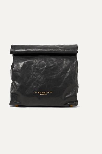 SIMON MILLER Lunchbag 20 Clutch aus Leder in Knitteroptik