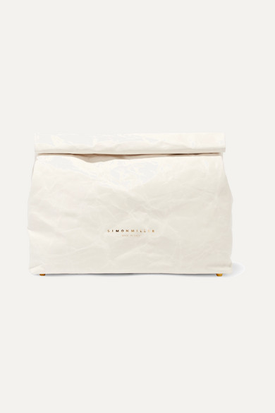 Lunchbag 30 Crinkled-Leather Clutch in White