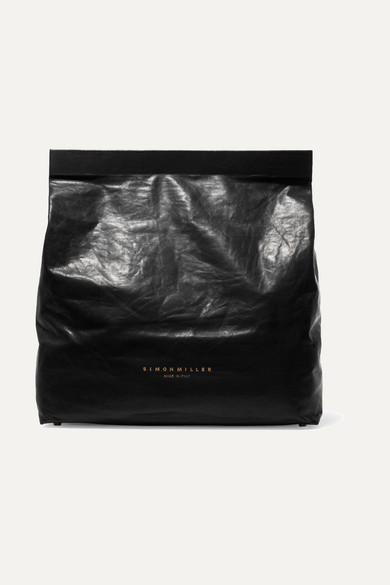 SIMON MILLER Lunchbag 30 Clutch aus Leder in Knitteroptik