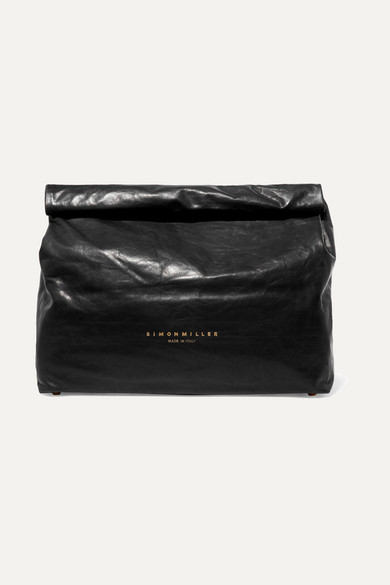 LUNCHBAG LEATHER ROLL TOP CLUTCH - BLACK