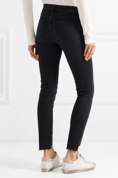 Current/Elliott The Stiletto halbhohe Skinny Jeans mit Fransen