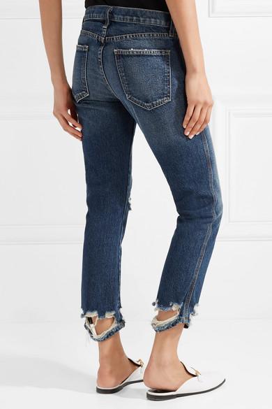 Current/Elliott The Cropped halbhohe Jeans mit schmalem Bein in Distressed-Optik