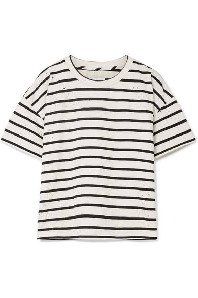 Current/Elliott The Roadie gestreiftes T-Shirt aus einer Baumwollmischung in Distressed-Optik