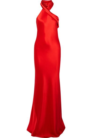 Galvan - Silk-satin Halterneck Gown - Red