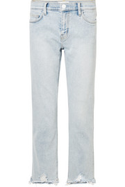 The Cropped distressed mid-rise straight-leg jeans