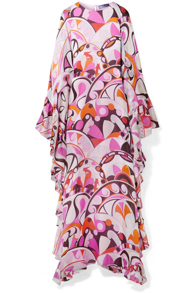 Emilio Pucci - Ruffed Printed Silk-georgette Maxi Dress - Pink