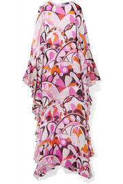 Ruffed printed silk-georgette maxi dress
