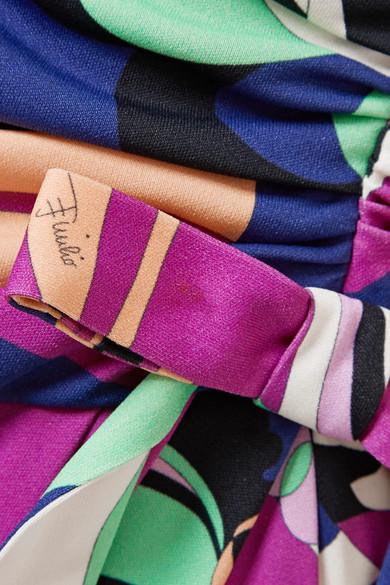 Emilio Pucci Aruba Midikleid aus bedrucktem Stretch-Jersey mit Wickeleffekt