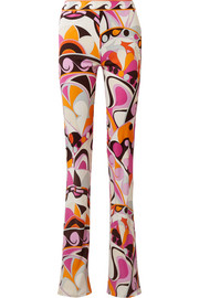 Printed jersey flared pants