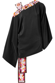Printed satin twill-trimmed silk crepe de chine blouse