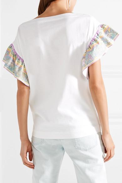 Emilio Pucci Bedrucktes T-Shirt aus Baumwoll-Jersey mit Besätzen aus Seiden-Twill