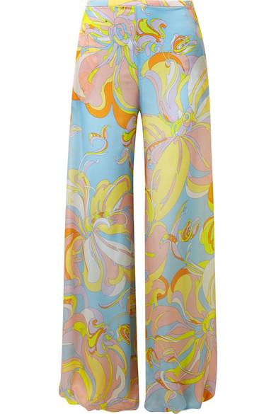 Emilio Pucci Bedruckte Hose mit weitem Bein aus Seiden-Jersey