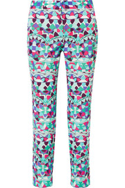 Cropped printed cotton-blend faille slim-leg pants
