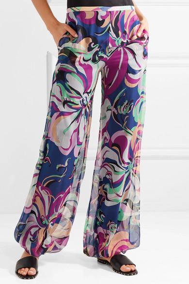 Emilio Pucci Aruba Hose mit weitem Bein aus bedrucktem Seiden-Georgette
