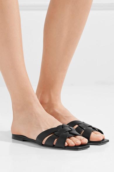 329f54b3303 Saint Laurent. Woven leather slides