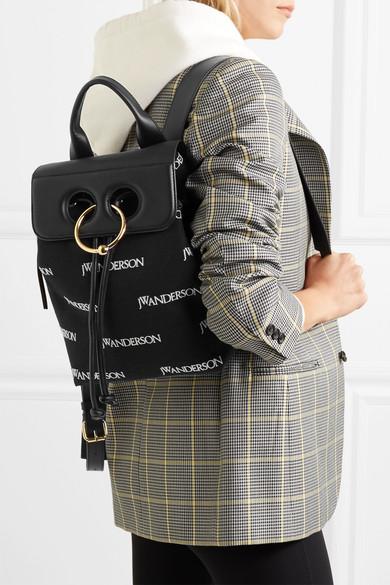 JW Anderson Pierce mini Rucksack aus besticktem Canvas und Leder