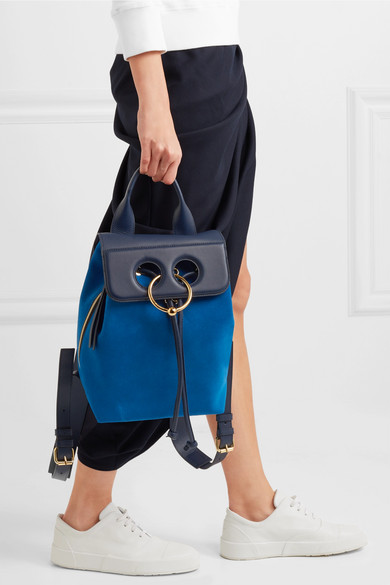 JW Anderson Pierce mini Rucksack aus Veloursleder und strukturiertem Leder