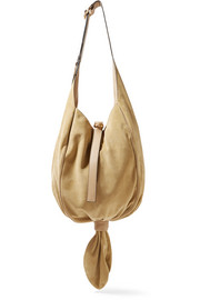 Knot leather-trimmed suede shoulder bag