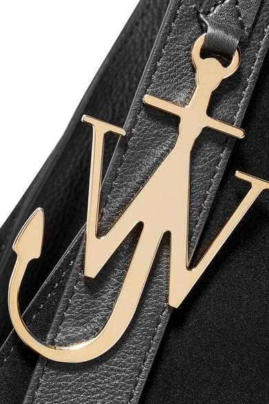 JW Anderson Knot Schultertasche aus Veloursleder mit Lederbesatz