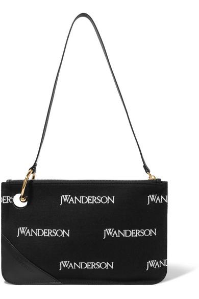 JW Anderson Schultertasche aus besticktem Canvas mit Lederbesatz