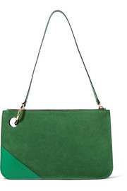 Leather-trimmed suede shoulder bag