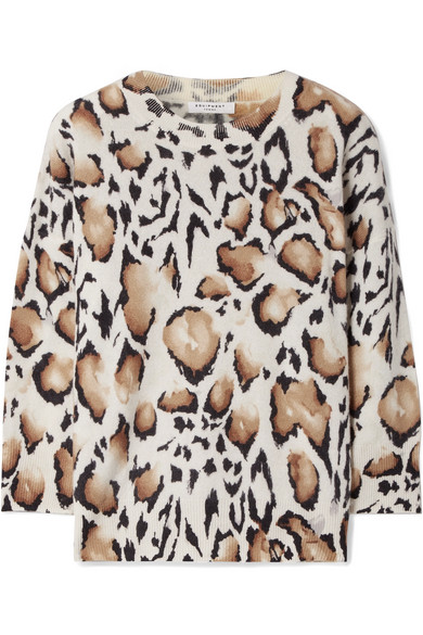 Equipment Melanie Kaschmirpullover in Oversized-Passform mit Leopardenprint