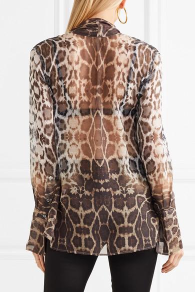 Equipment Jacqueleen Bluse aus Seiden-Georgette mit Leopardenprint und Schluppe