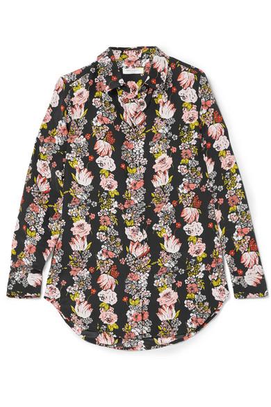 Equipment Essential Hemd aus Crêpe de Chine aus Seide mit floralem Print