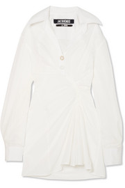 Maceio ruched cotton mini dress