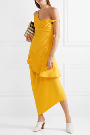 La Robe Sol off-the-shoulder ruffled canvas midi dress