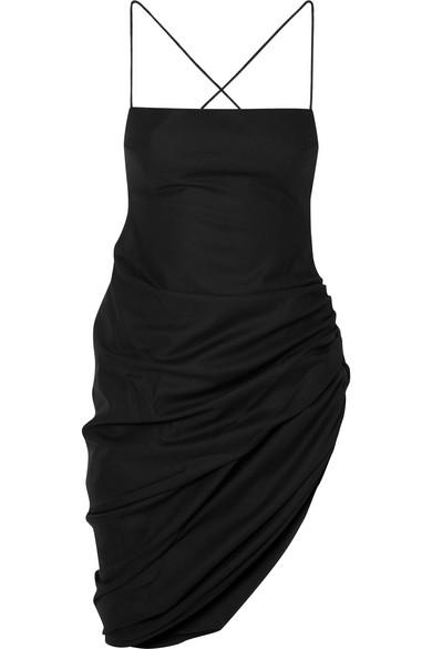Jacquemus Saudade asymmetrisches Minikleid aus Woll-Piqué mit Raffung