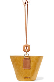 Jacquemus Praia embellished two-tone glossed-leather bucket bag