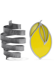 Le Citron gunmetal-tone and enamel earrings